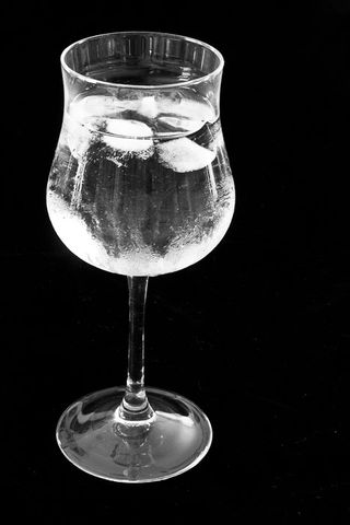 Cold Wine Glass with Ice
